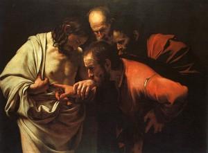 The Incredulity of Saint Thomas ny Caravaggio